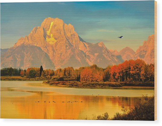 Autumn Dawn At Oxbow Bend Wood Print