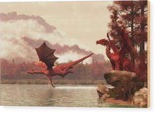 Autumn Dragons Wood Print