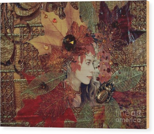 Autumn Dryad Collage Wood Print by Maureen Tillman