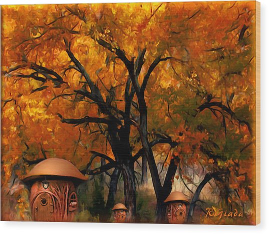 Autumn Fairies Resort Wood Print