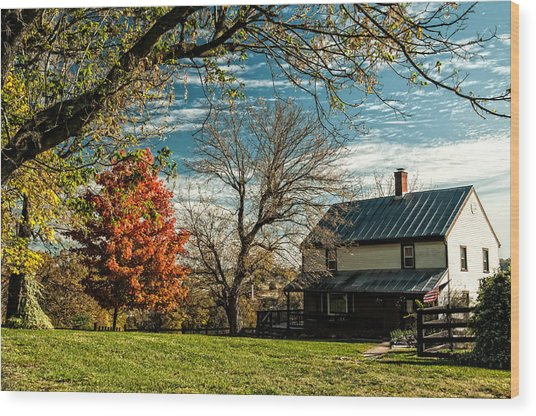 Autumn Farm House Wood Print