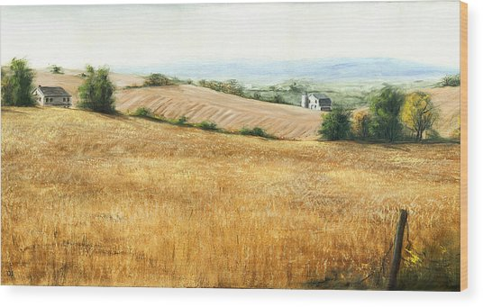Autumn Fields Maryland Rt40 West Wood Print by G Linsenmayer