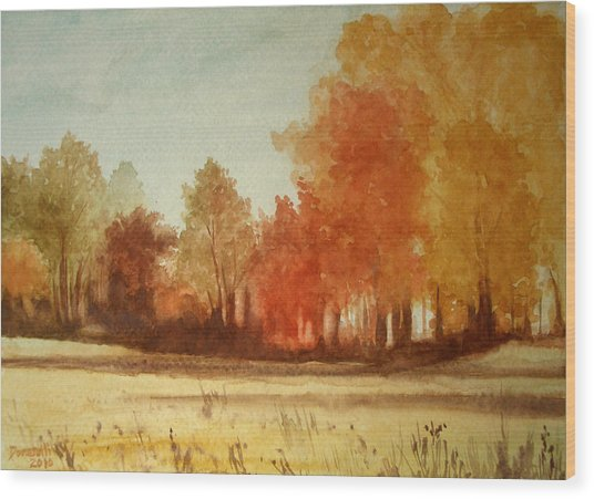 Autumn Fields New Jersey Wood Print