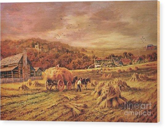 Autumn Folk Art - Haying Time Wood Print