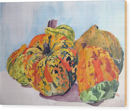 Autumn Gourds Wood Print