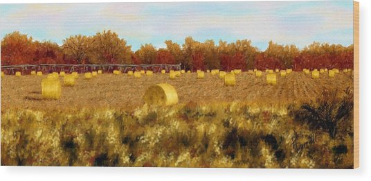 Autumn Hay Wood Print