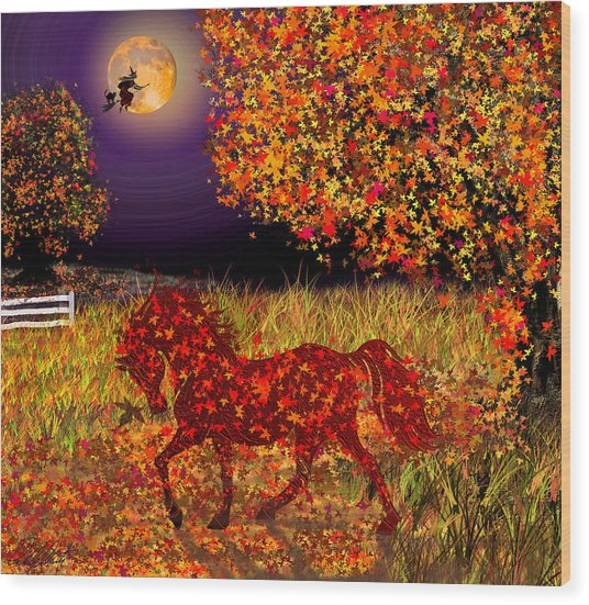 Autumn Horse Bewitched Wood Print