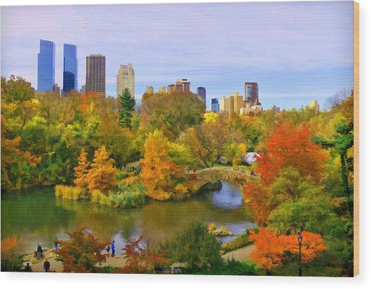 Autumn In Central Park 4 Wood Print