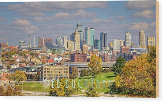 Autumn In Kansas City With Logo Wood Print