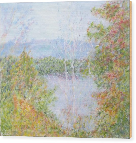 Autumn By The Lake In New Hampshire Wood Print