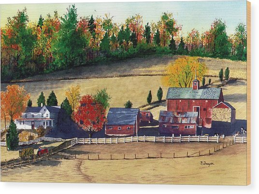Autumn In New Jersey Wood Print