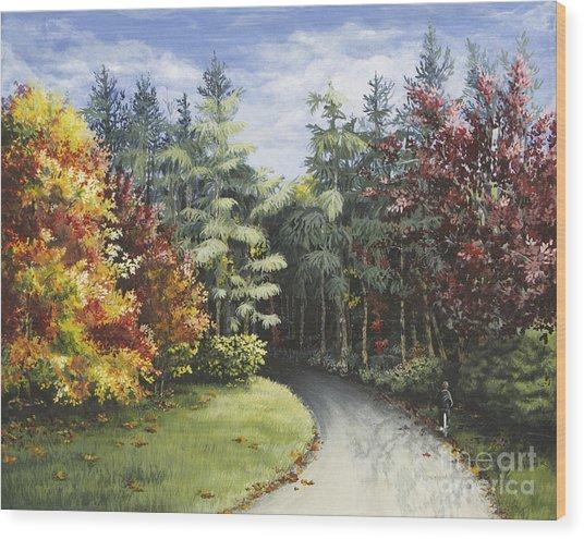 Autumn In The Arboretum Wood Print
