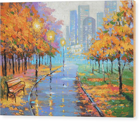 Autumn In The Big City Wood Print
