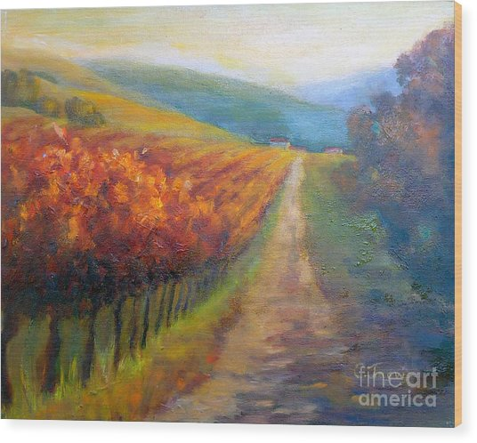 Autumn In The Vineyard Wood Print
