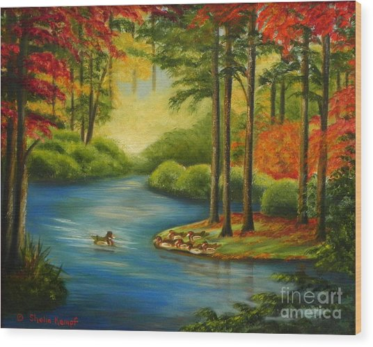 Autumn Lake Wood Print
