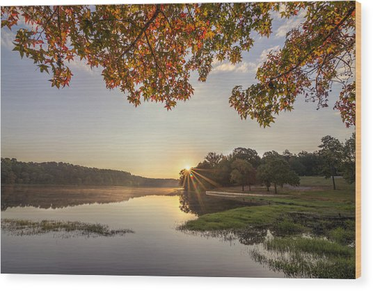 Autumn Lake Sunrise In East Texas Wood Print