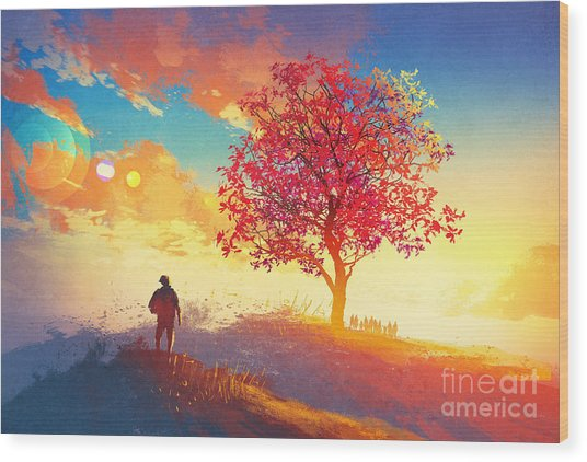 Autumn Landscape With Alone Tree On Wood Print