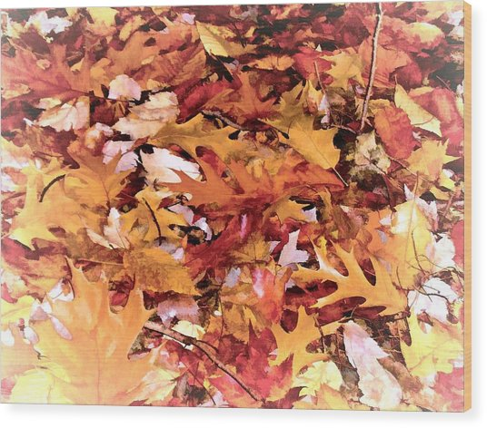 Autumn Leaves On The Ground In New Hampshire In Muted Colors Wood Print