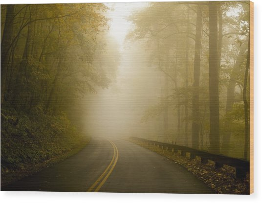 Autumn Mist Blue Ridge Parkway Wood Print