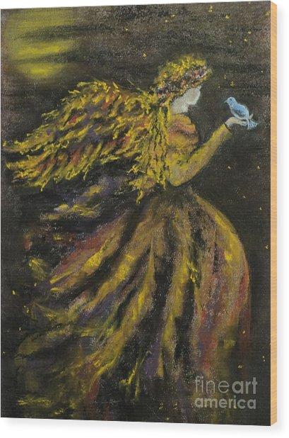 Autumn Moon Angel Wood Print