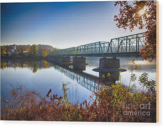 Autumn Morning View Of The New Hope Lambertville Bridge  Wood Print by George Oze