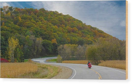 Autumn Motorcycle Rider / Orange Wood Print