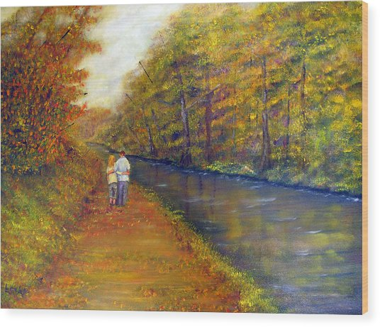 Autumn On The Towpath Wood Print