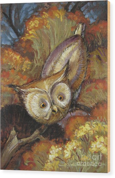 Autumn Owl Wood Print
