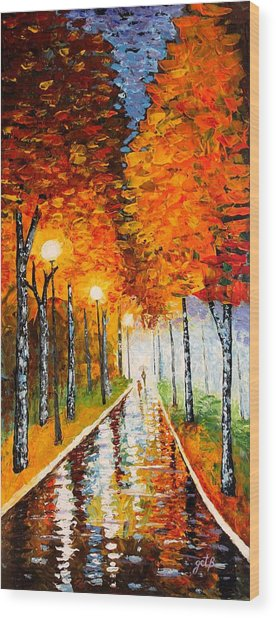 Autumn Park Night Lights Palette Knife Wood Print