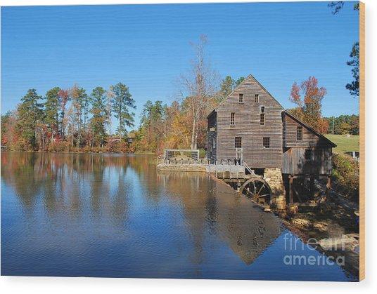 Autumn Reflections At Yates Mill Wood Print