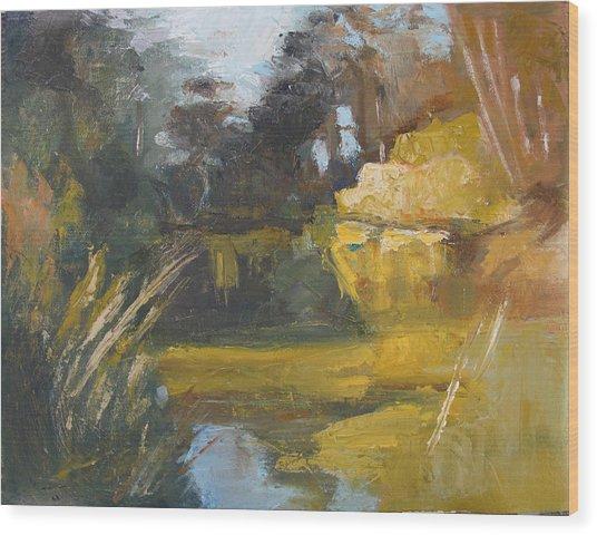 Autumn Reflections Stowe Lake Wood Print
