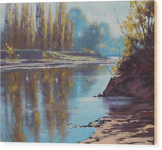 Autumn Reflections Tumut River Wood Print by Graham Gercken
