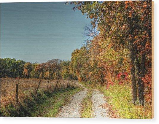 Autumn Ridge Wood Print