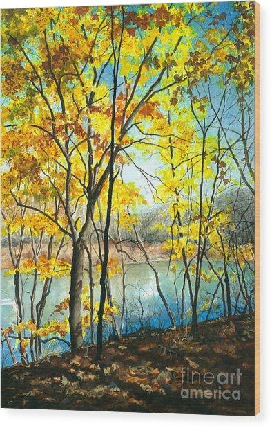 Autumn River Walk Wood Print