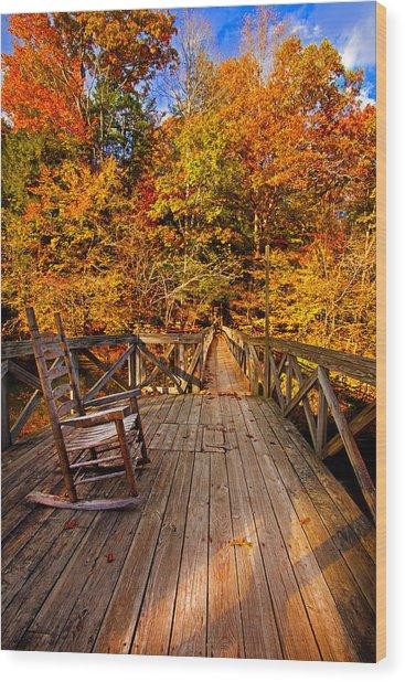 Autumn Rocking On Wooden Bridge Landscape Print Wood Print