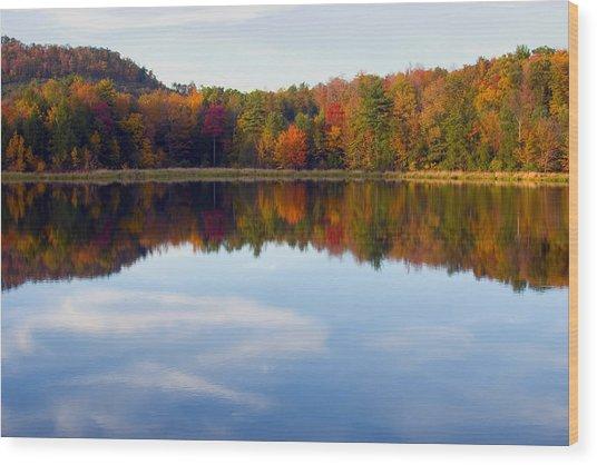 Autumn Shoreline Reflection Wood Print