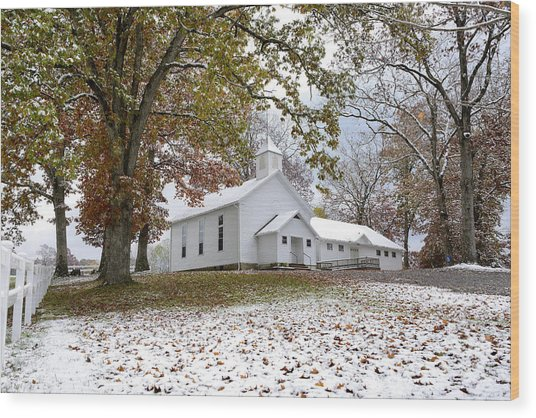 Autumn Snow And Country Church Wood Print