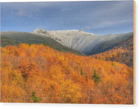 Autumn Snow On Mount Lafayette Wood Print