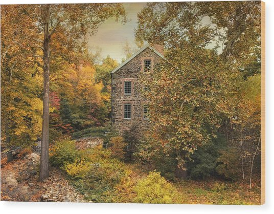Autumn Stone Mill Wood Print