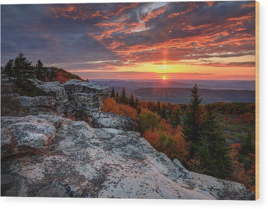 Autumn Sunrise At Dolly Sods Wood Print