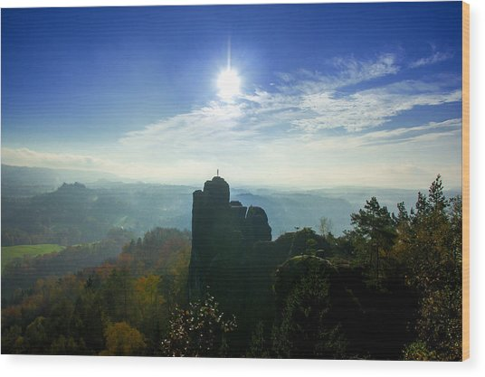 Autumn Sunrise In The Elbe Sandstone Mountains Wood Print