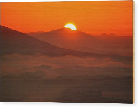 Autumn Sunrise On The Lilienstein Wood Print