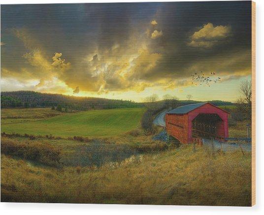 Autumn Sunset Over Meech Creek And Wood Print
