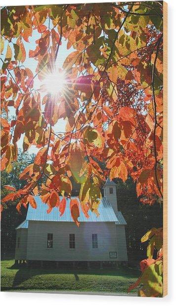 Autumn Sunshine Missionary Baptist Church Wood Print by John Saunders