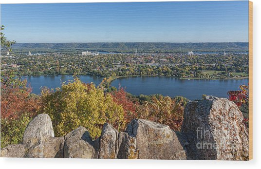 Wood Print featuring the photograph Autumn View From Garvin Heights by Kari Yearous