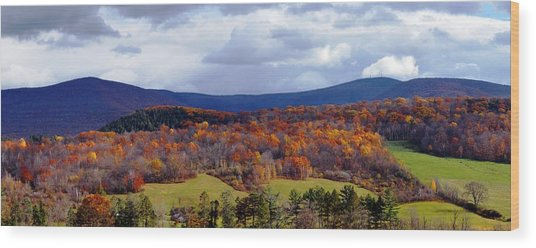 Autumn View Toward Mount Greylock Wood Print