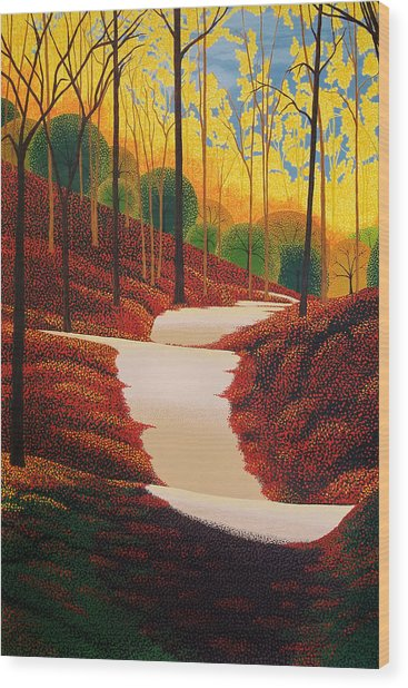 Autumn Walk Wood Print by Michael Wicksted