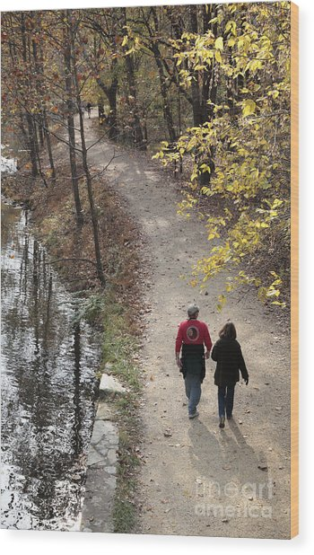 Autumn Walk On The C And O Canal Towpath Wood Print