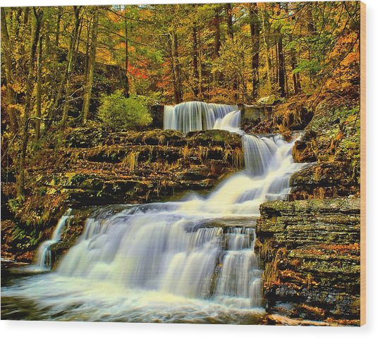 Autumn By The Waterfall Wood Print