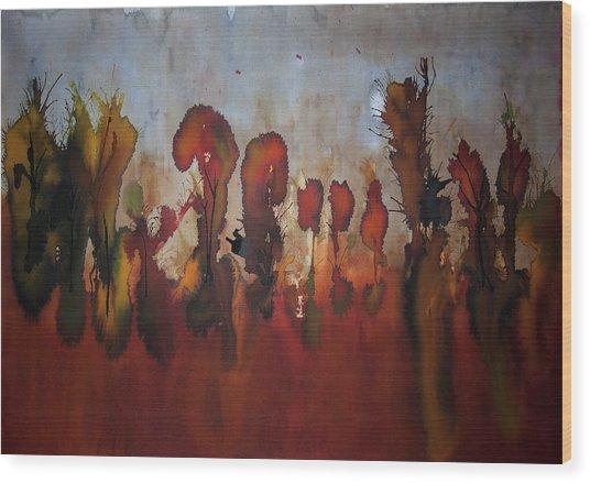 Autumno V Wood Print by Laura Benavides Lara